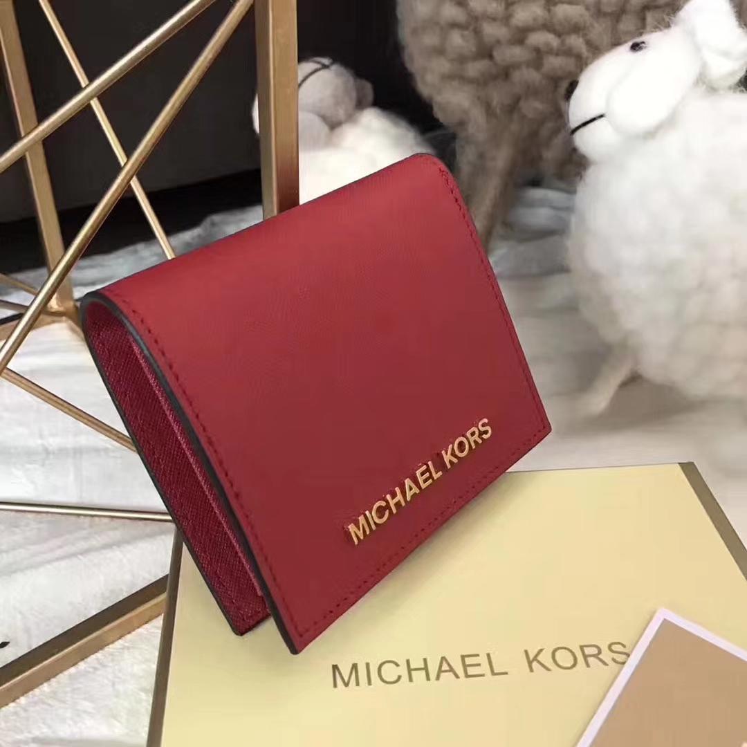 MK钱夹价格 迈克尔高仕大红色进口十字纹牛皮吸扣钱包卡包12CM
