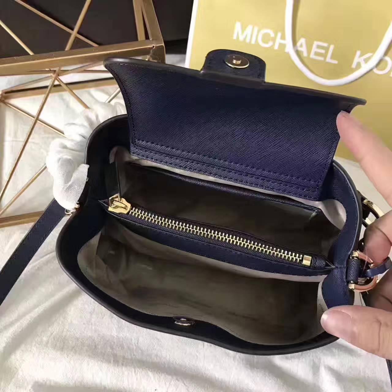迈克高仕MK新款包包 2017年新款牛皮玉石包单肩斜挎女包 深蓝色