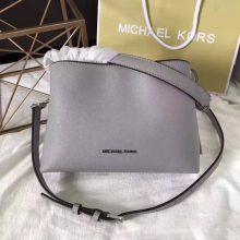 迈克科尔斯包包价格 MK灰色十字纹牛皮女包新款玉石单肩包