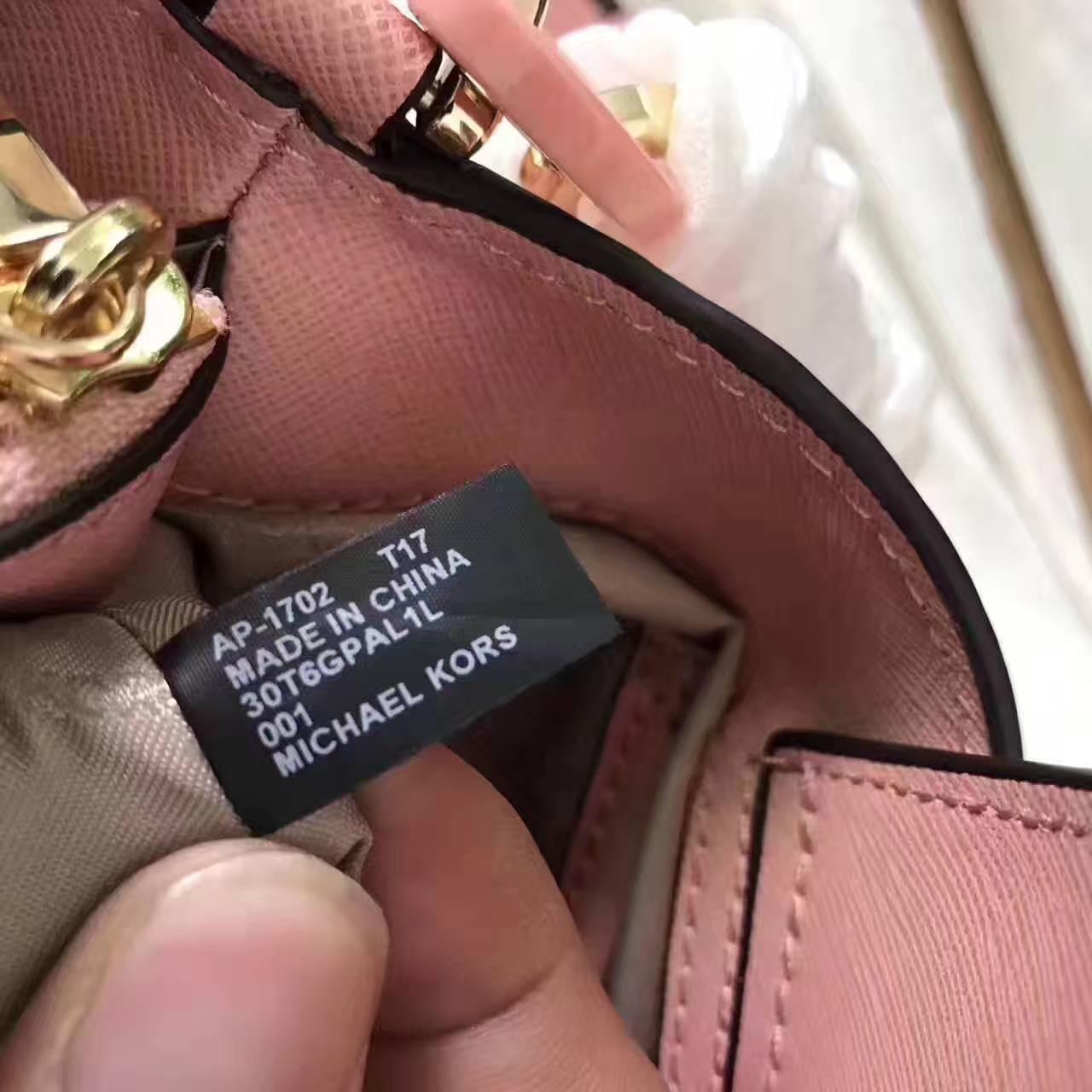 厂家直销 MK迈克科尔斯2017年新款牛皮玉石单肩包斜挎包包 粉色