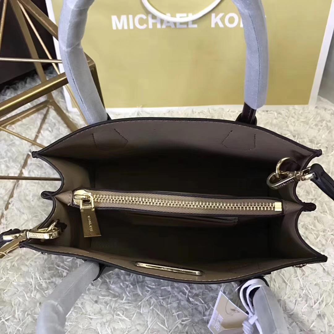 MK新款Mercer托特包 迈克高仕紫色纳帕牛皮爱心形铆钉手提女包22cm