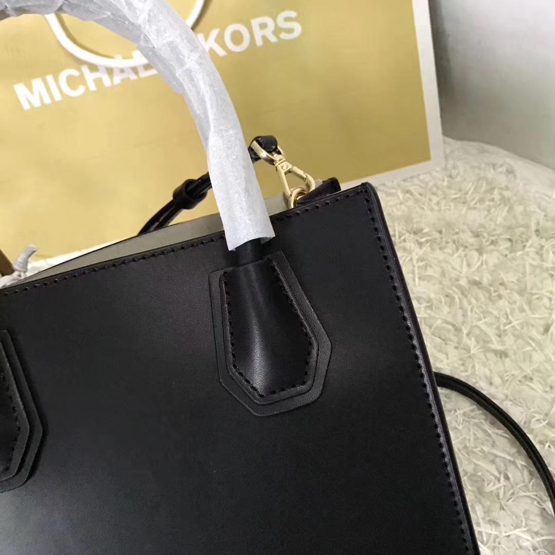 MK Mercer托特包 迈克高仕新款心形铆钉纳帕牛皮女包22cm 黑色