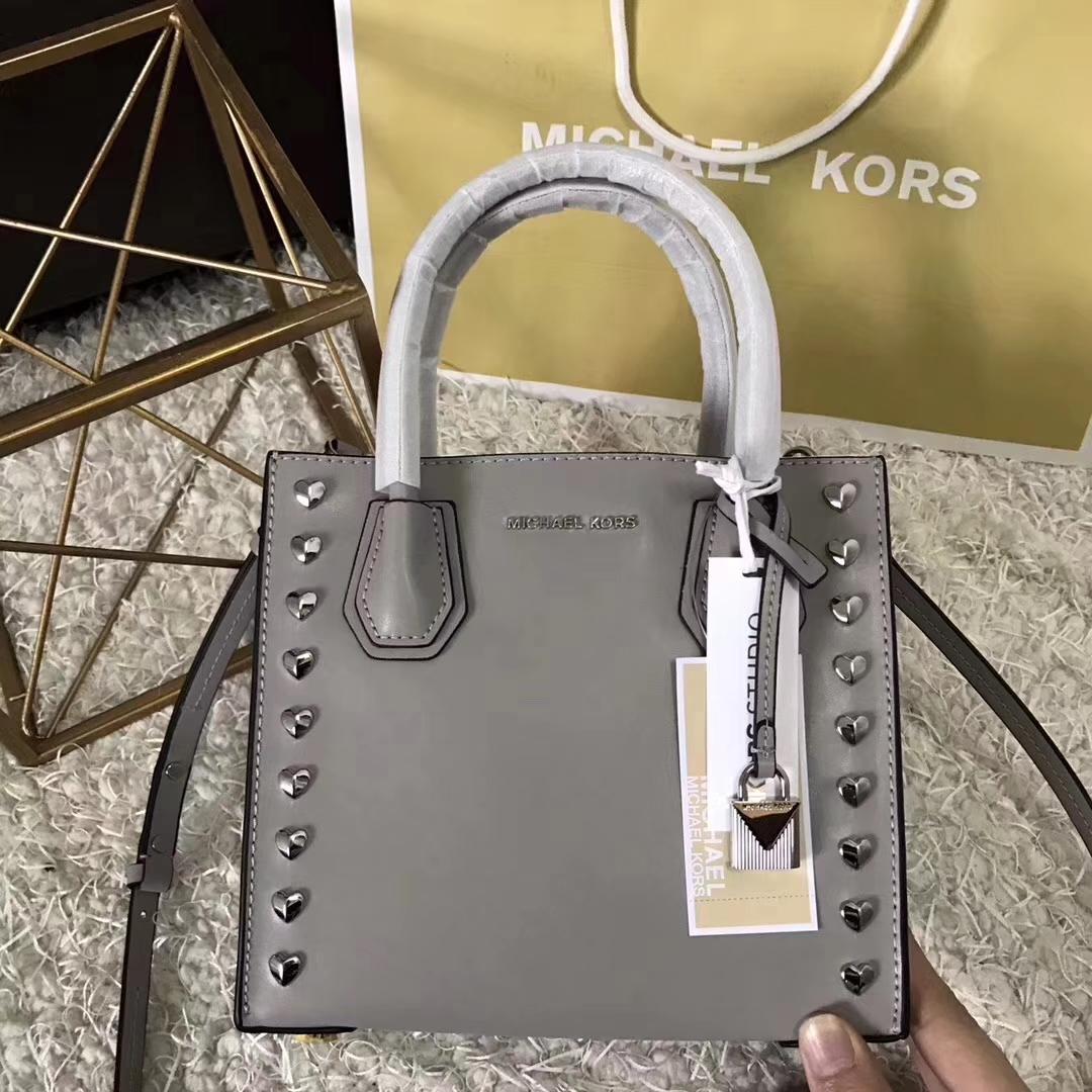 高档女包批发 MK迈克科尔斯灰色纳帕牛皮心形铆钉Mercer手提包22cm