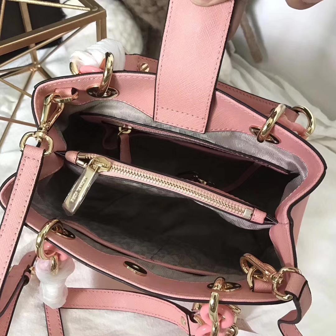 厂家直销 迈克科尔斯MK粉色进口十字纹牛皮新款小号玳瑁包单肩女包24cm
