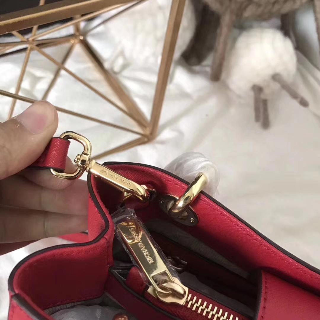 MK新款包包 迈克科尔斯MK进口十字纹牛皮女包最新玳瑁包小号24cm 大红色