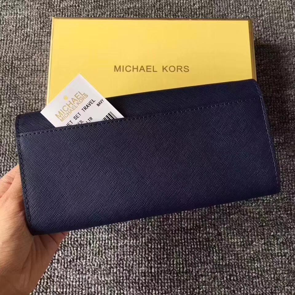 MK钱包价格 迈克高仕深蓝色十字纹牛皮翻盖长钱包女士手包19cm