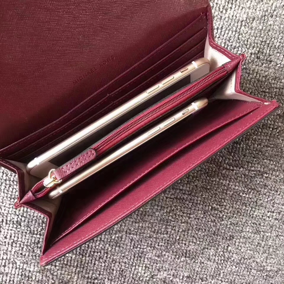 MK钱夹批发 迈克科尔斯酒红色十字纹牛皮翻盖长款钱包卡包19cm