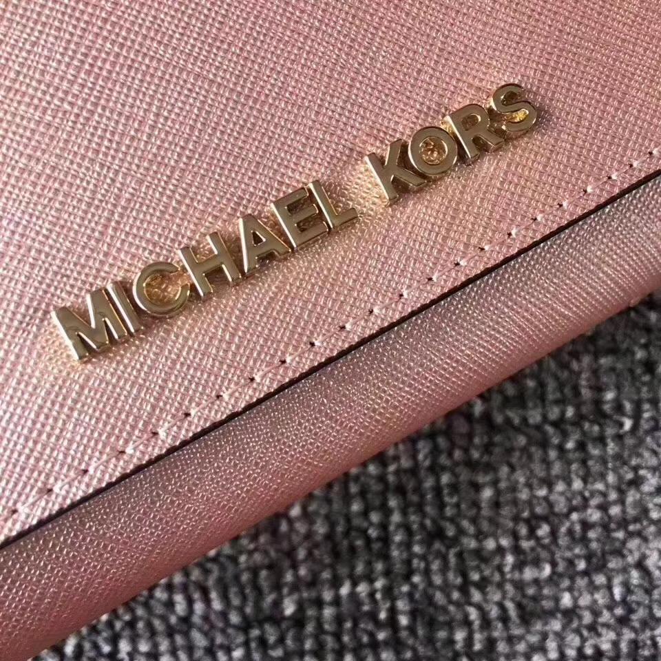 真皮钱包批发 MK迈克科尔斯十字纹牛皮翻盖长款钱夹手包 玫瑰金