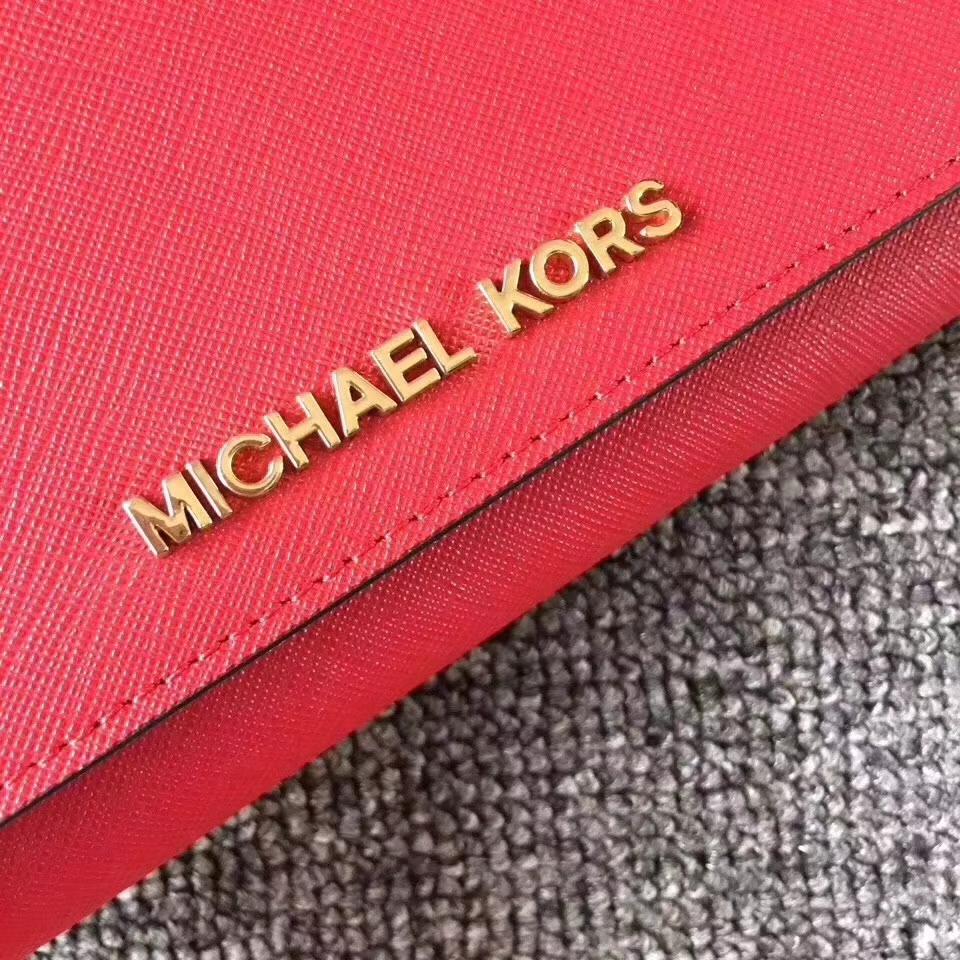 迈克科尔斯钱包 MK新款翻盖长款钱夹手包19cm 红色十字纹牛皮
