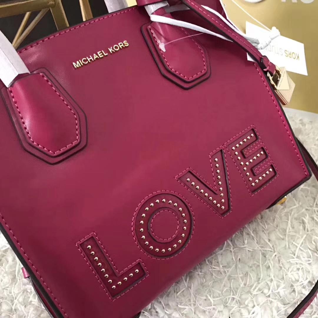 迈克高仕包包 MK MercerLove专柜限量款平纹牛皮手提包22cm 玫红色