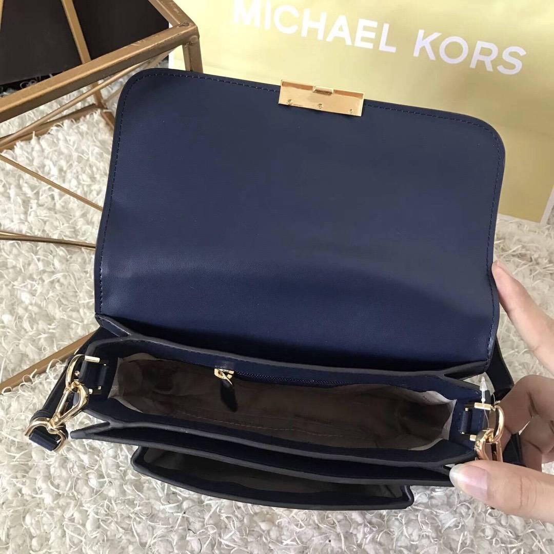 2017新款女包 MK迈克科尔斯原单牛皮五角星单肩斜挎包包 深蓝色