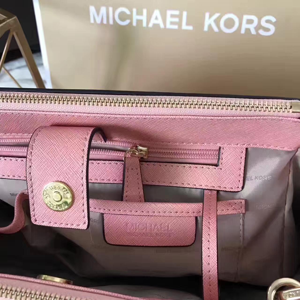 MK经典女包 迈克高仕原单十字纹牛皮双拉链MK杀手包中号32cm 粉色