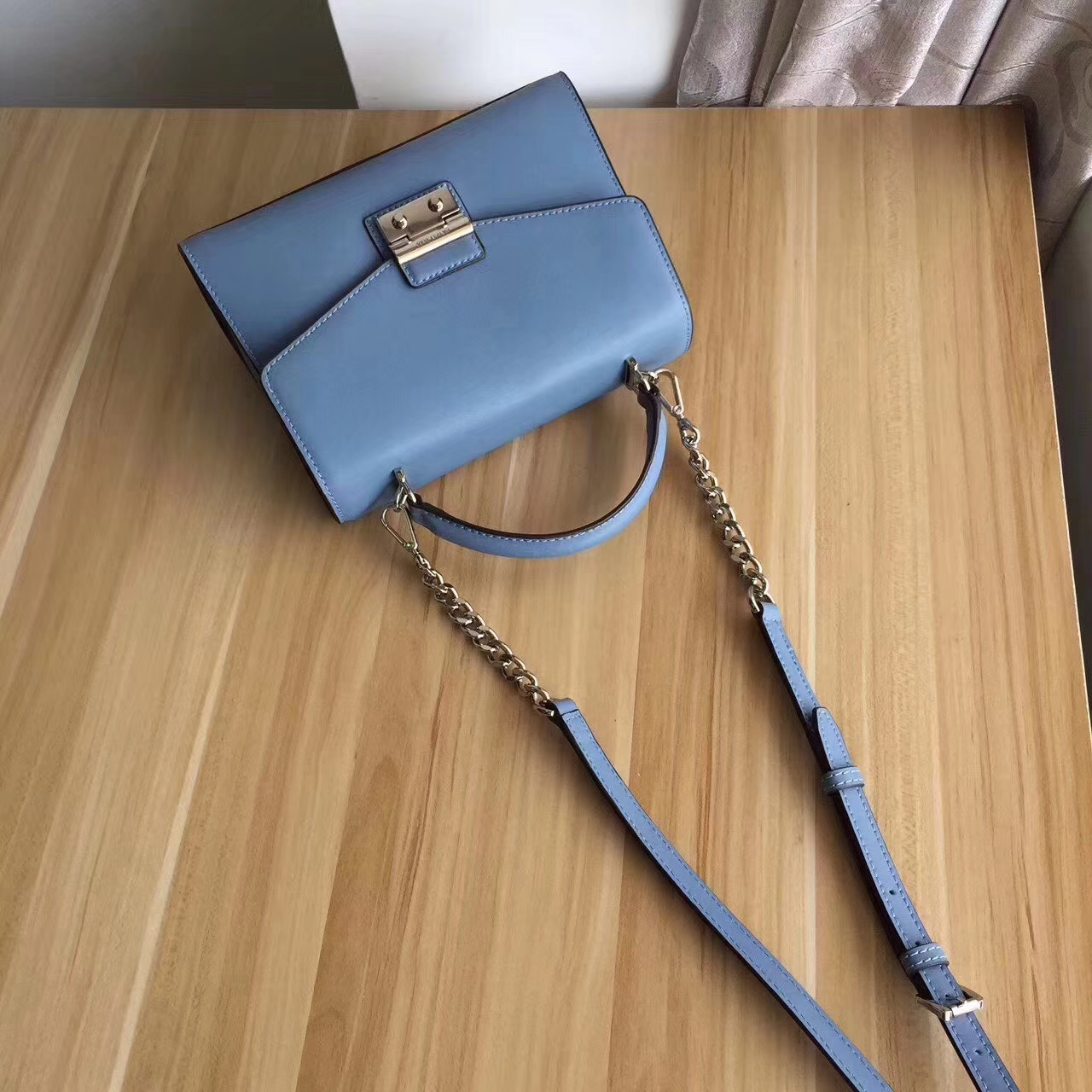 MK2017年新款女包 迈克科尔斯车菊蓝色纳帕牛皮手提包链条单肩包24cm
