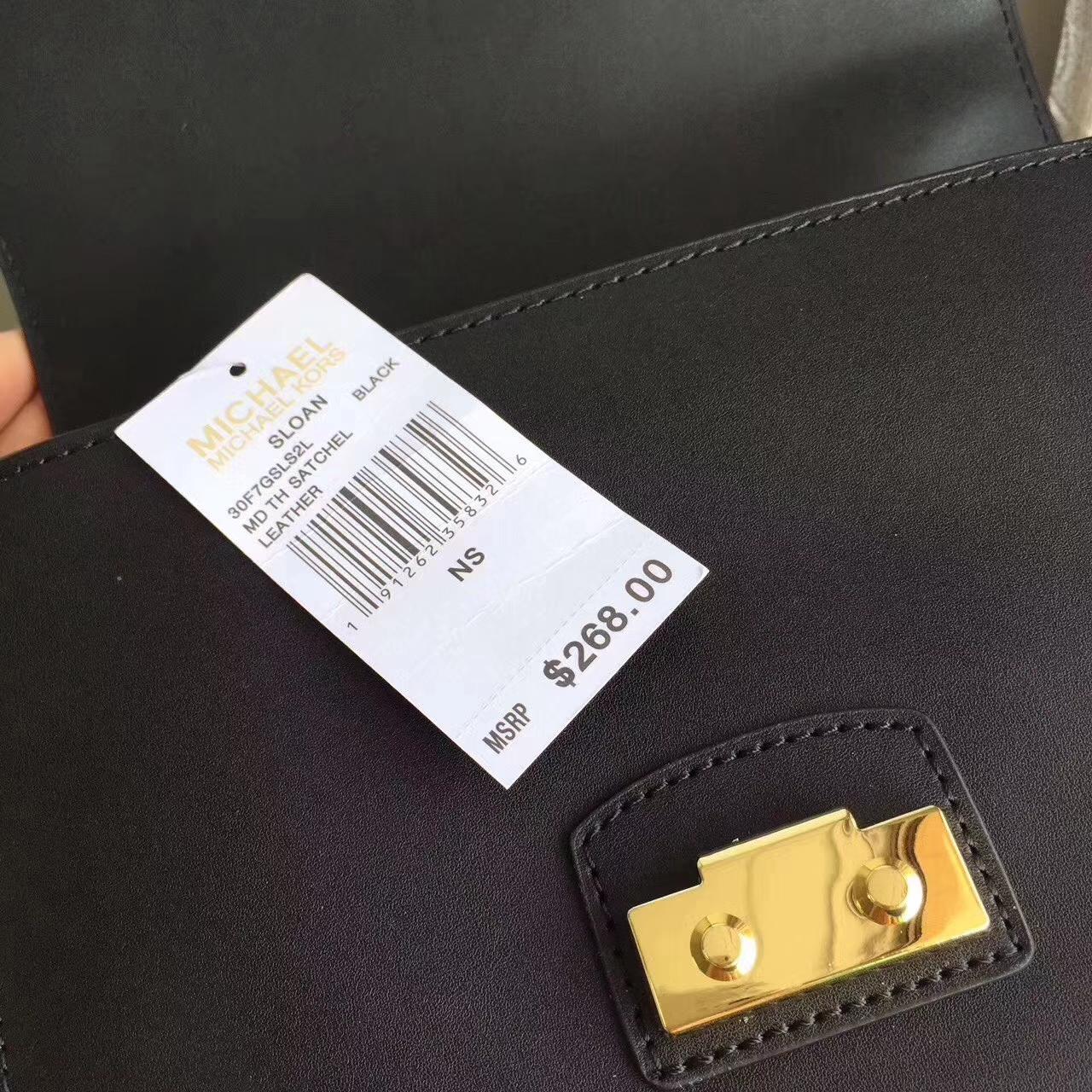 迈克科尔斯包包 MK17年新款黑色纳帕牛皮手提包单肩斜挎包24cm