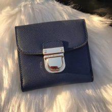 MK2017新款钱夹 迈克科尔斯深蓝色十字纹牛皮MK锁头钱包10cm
