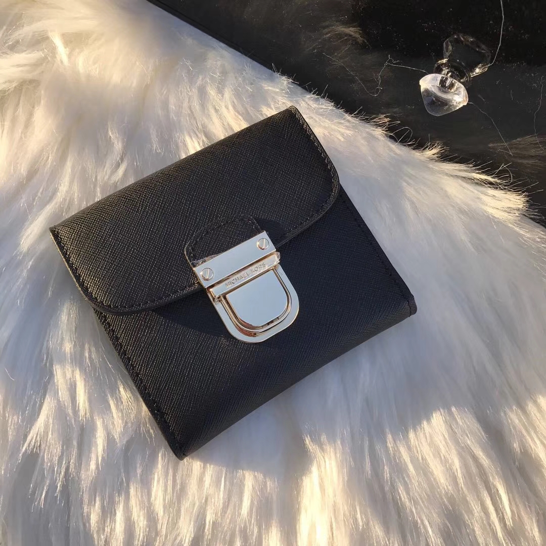 迈克科尔斯MK钱夹新款 原单十字纹牛皮短款锁头钱包卡包10cm 黑色