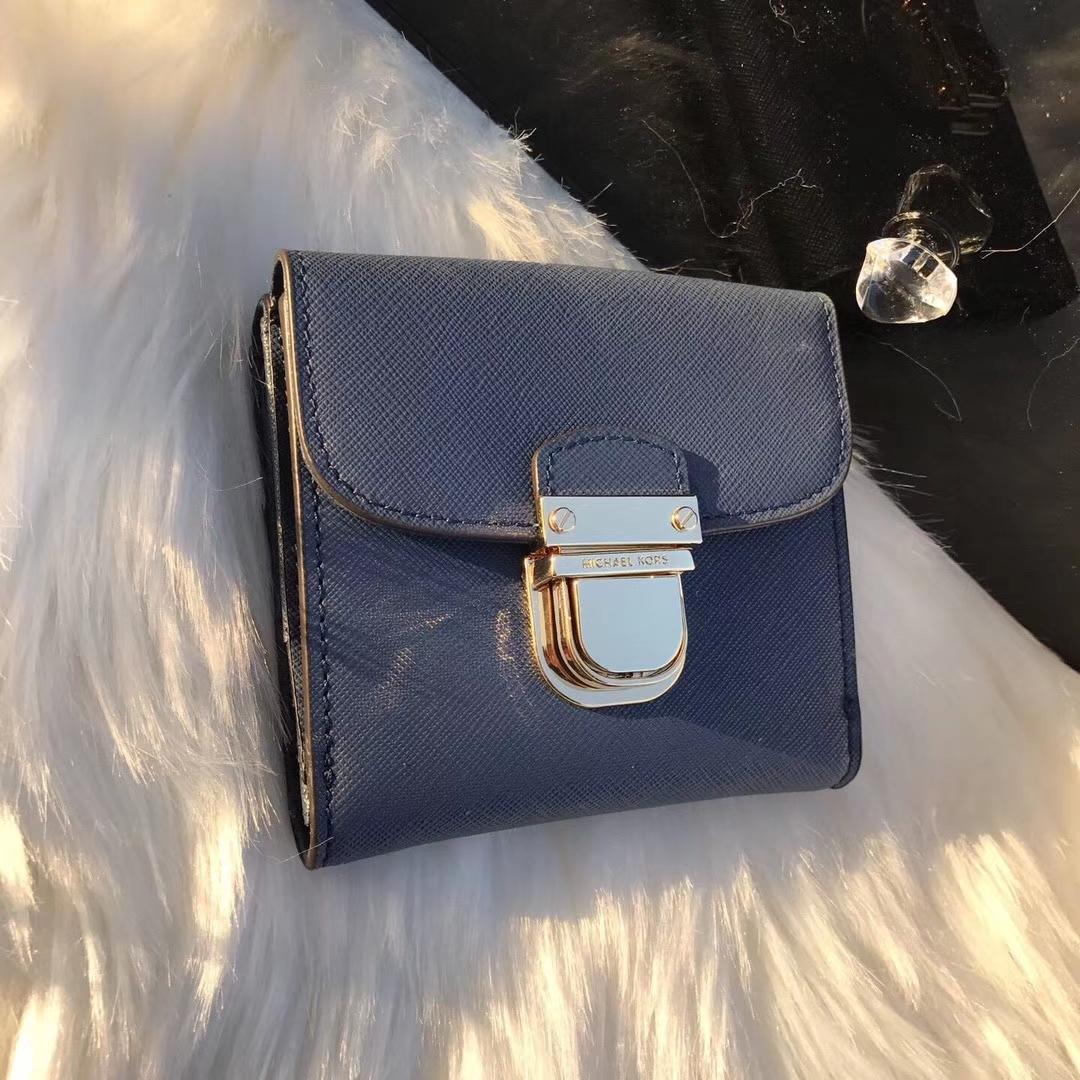 MK短款锁头钱包 迈克高仕车菊蓝色原单十字纹牛皮钱夹卡包10cm