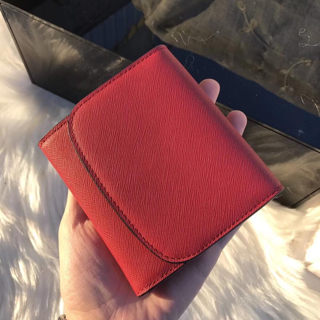 迈克高仕新款钱夹 MK原单十字纹牛皮短款锁头钱包10cm 红色