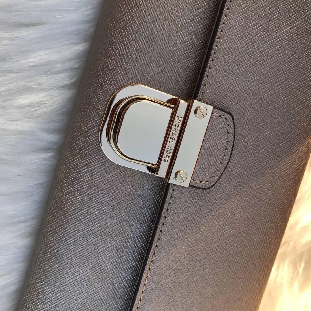 MK钱包新款 迈克科尔斯金色原单十字纹牛皮MK锁头钱夹手包20cm
