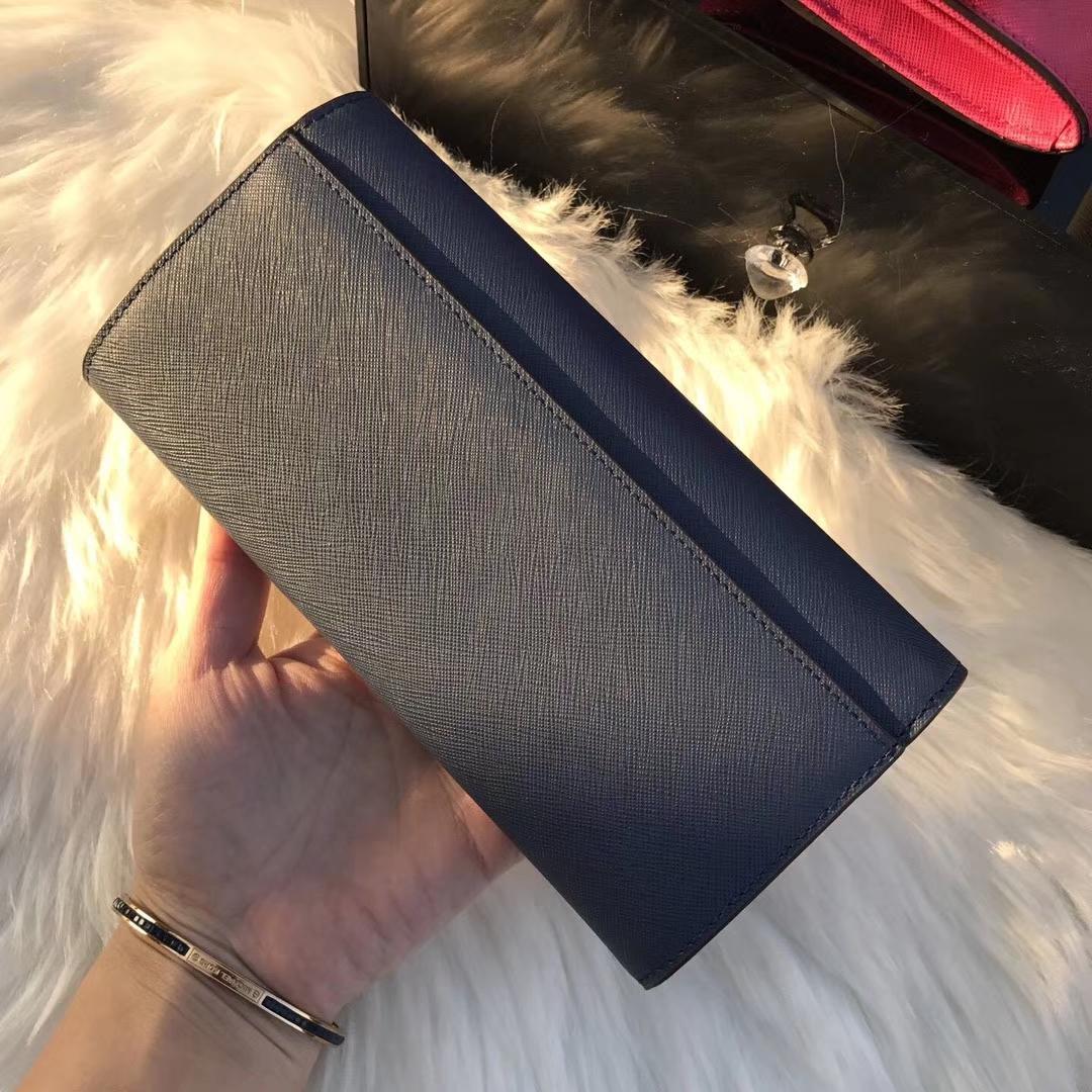 迈克科尔斯钱包 MK新款十字纹锁头长款钱包手包20cm 深蓝色