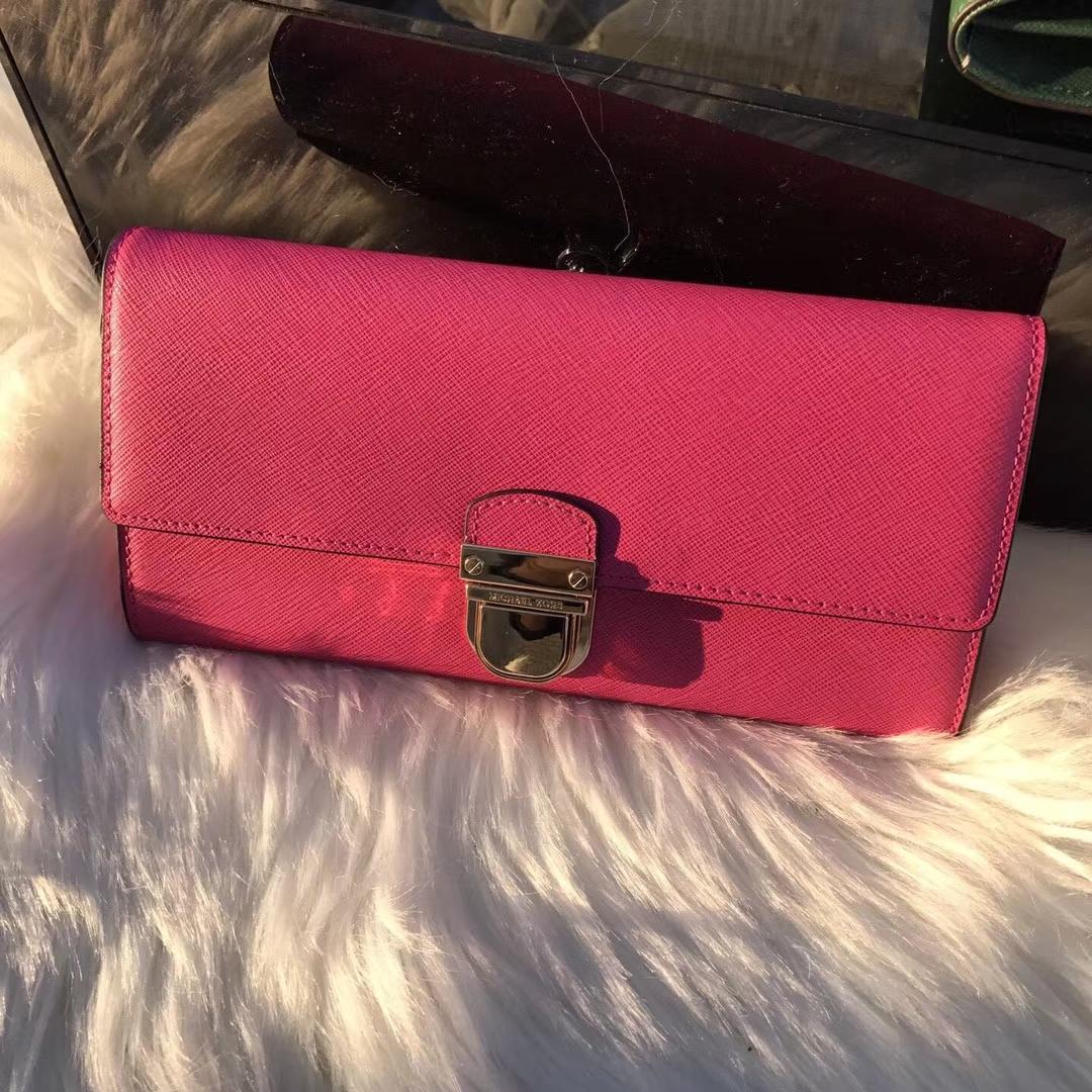 迈克高仕钱夹 MK原单十字纹牛皮锁头钱包长款钱包20cm 玫红色