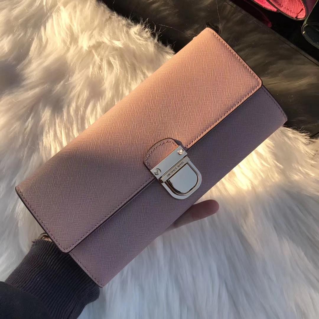 MK新款钱包 迈克科尔斯裸粉色原单十字纹牛皮MK长款锁头钱夹20cm