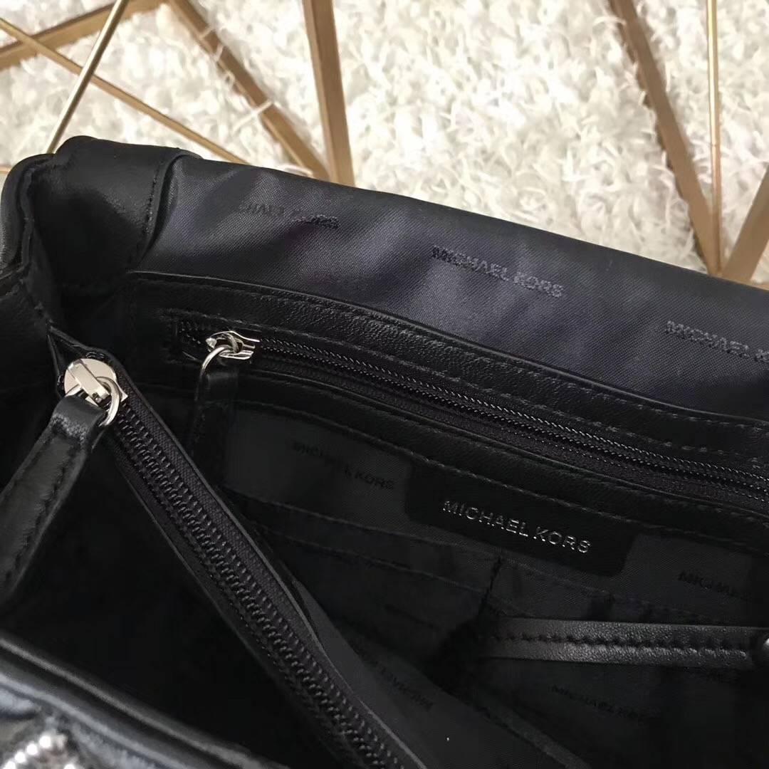MK新款包包 迈克科尔斯原单羊皮三角刺绣铆钉链条单肩包26cm 银色五金