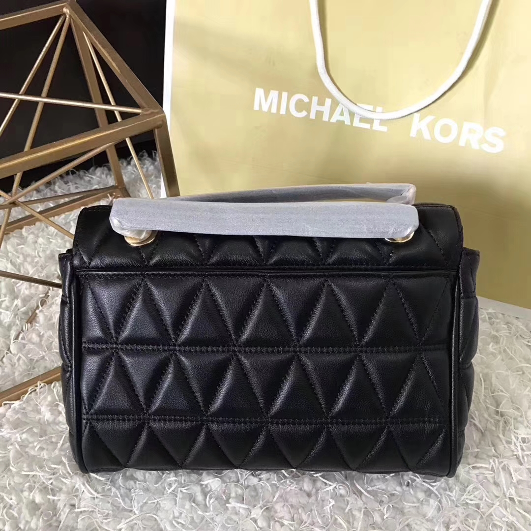 迈克高仕女包 MK纯原黑色羊皮三角刺绣链条包单肩女包中号24cm