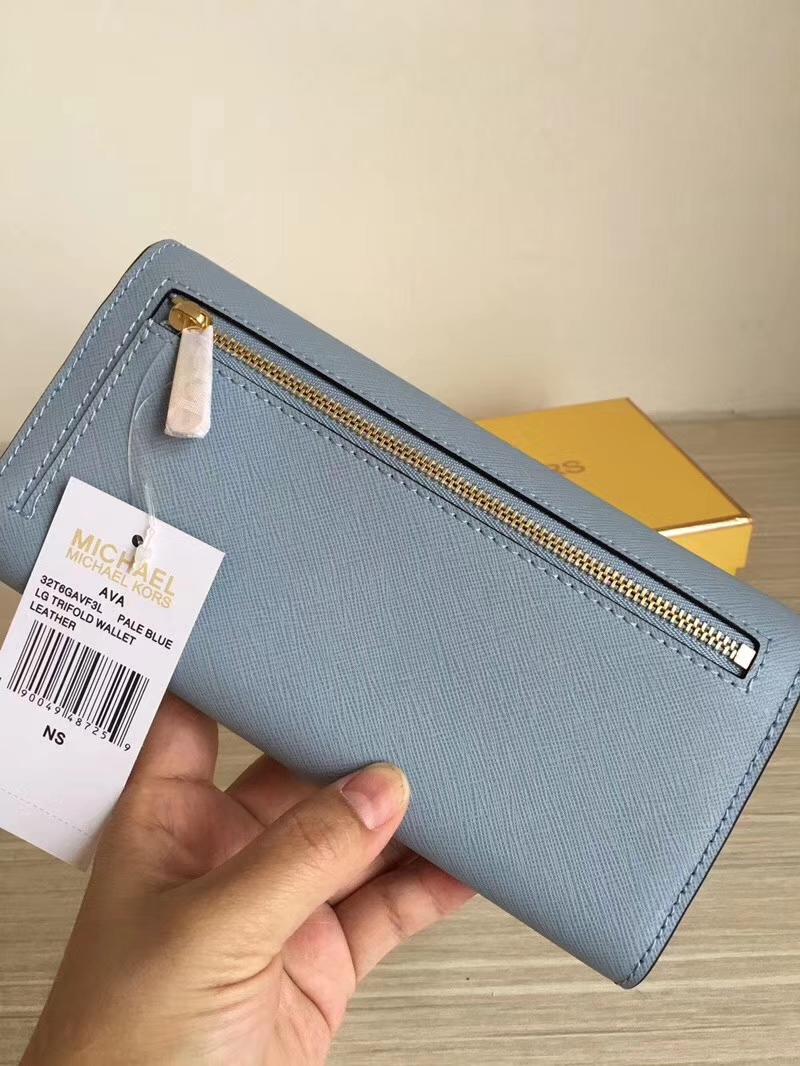 迈克科尔斯钱包 MK浅蓝色原单十字纹牛皮三折信封长款钱夹手包20cm