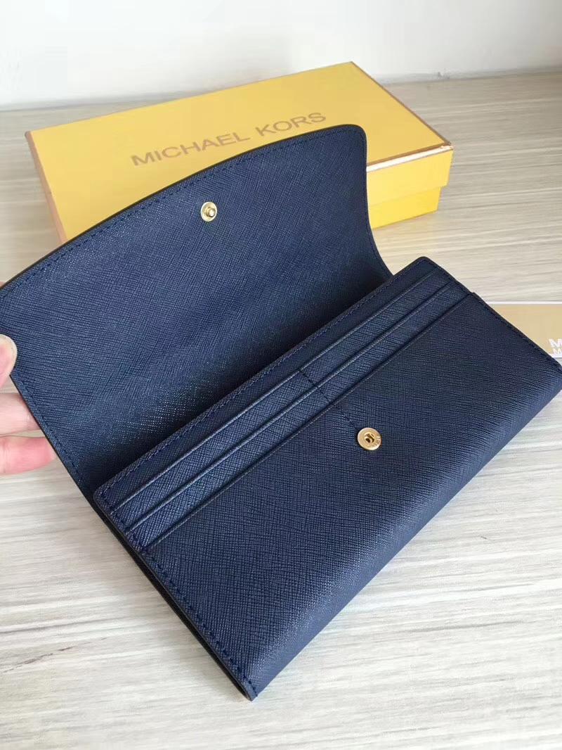 MK钱包批发 迈克科尔斯深蓝色原单十字纹牛皮长款钱夹手包20cm