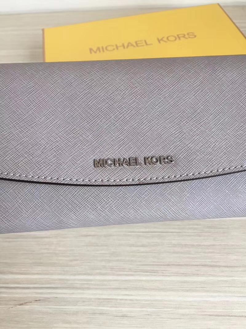 迈克高仕MK新款钱夹 原单十字纹牛皮三折信封长款钱包手包20cm 灰色