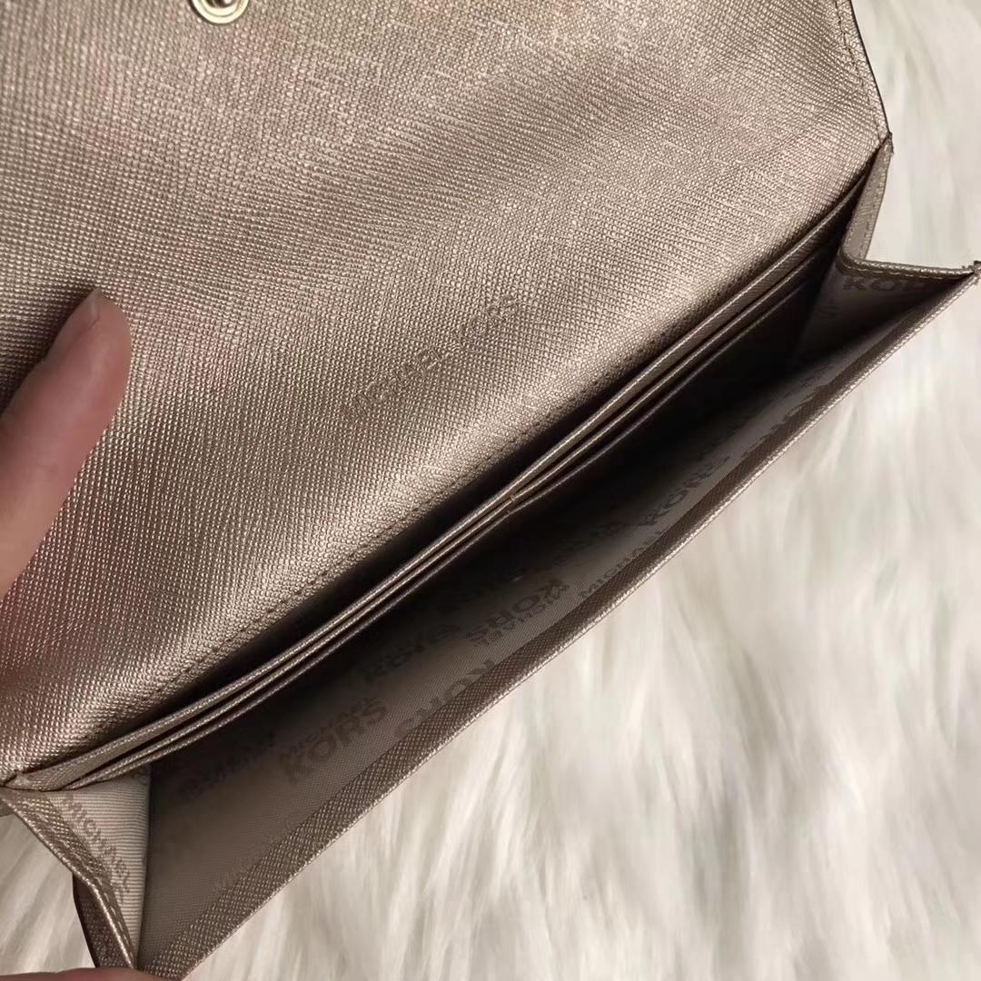 MK新款钱包 迈克科尔斯十字纹牛皮长款对折钱夹20cm 金色