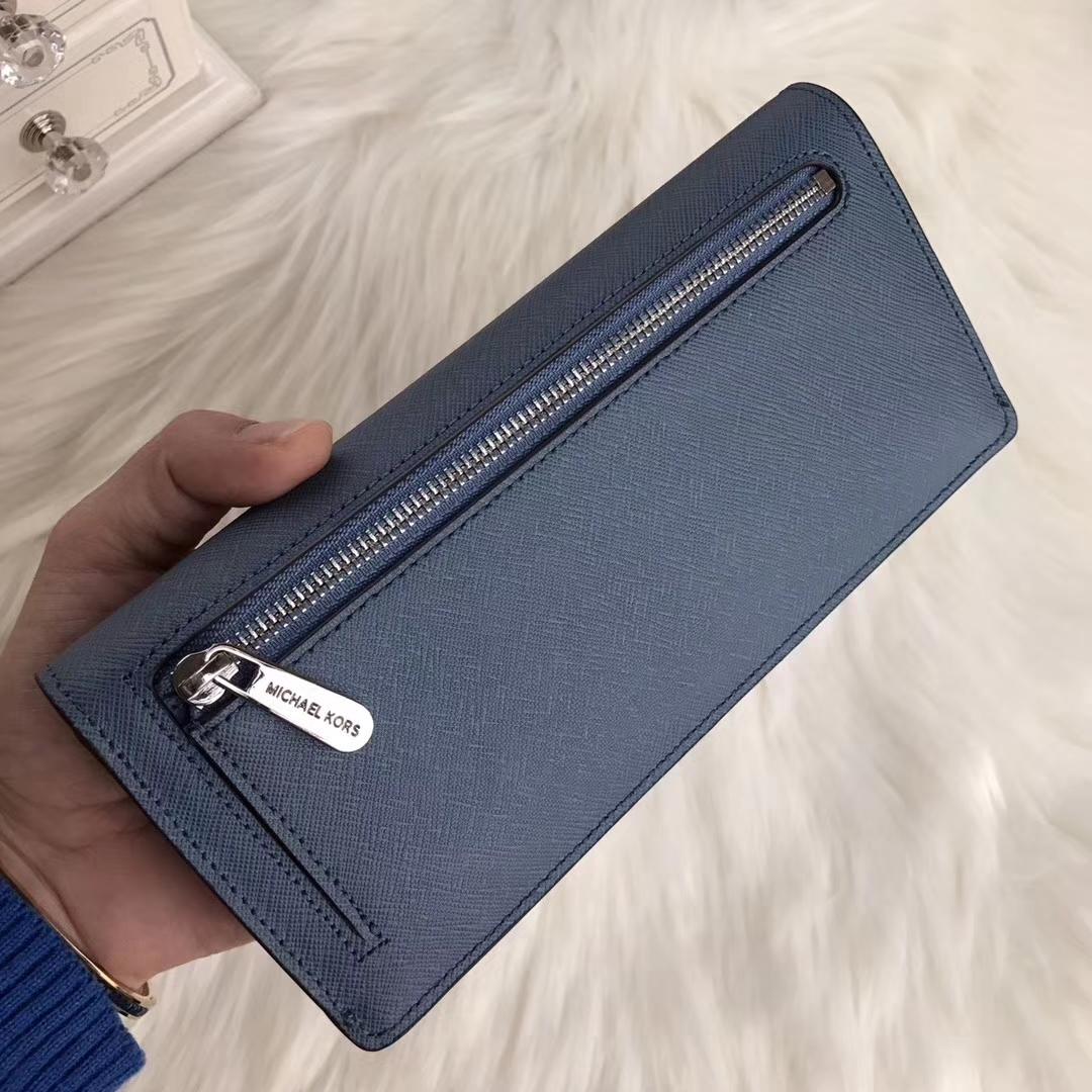迈克高仕MK钱夹批发 原单十字纹牛皮新款对折钱包手包20cm 车菊蓝