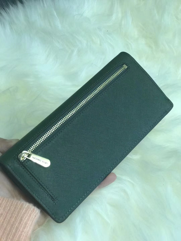MK新款钱夹 迈克高仕绿色十字纹牛皮原单长款钱包手包20CM