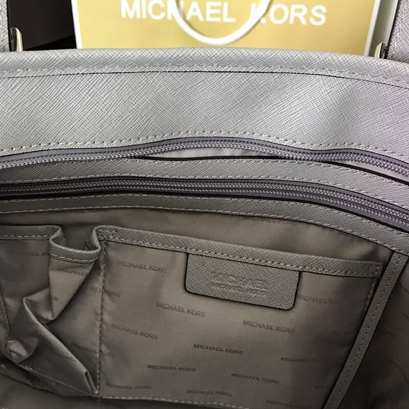 MK牛皮女包 迈克科尔斯灰色十字纹牛皮拉链购物袋妈咪包32cm