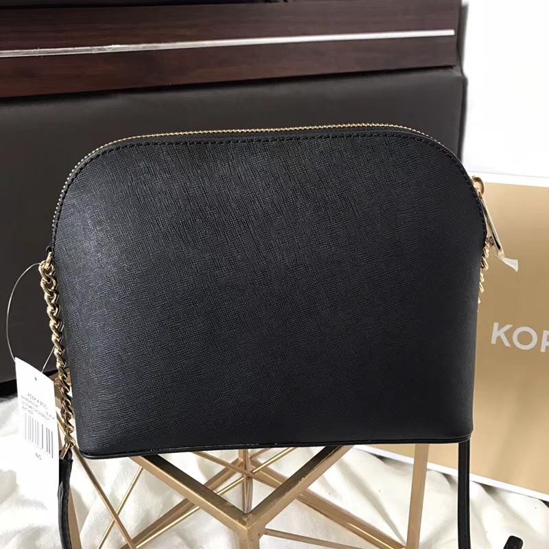 MK包包价格 迈克科尔斯黑色原单十字纹牛皮链条单肩斜挎小号贝壳包23cm