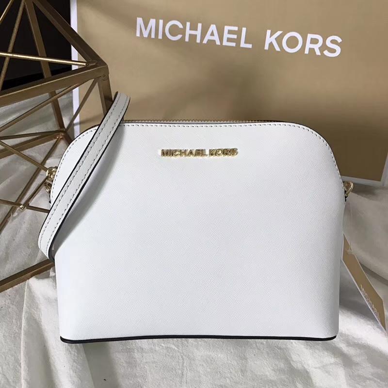 MK包包官网 迈克科尔斯白色原单十字纹牛皮小号贝壳包链条斜挎包23CM