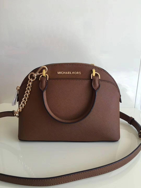 厂家直销 MK迈克科尔斯棕色原单十字纹牛皮贝壳包新款手提女包25cm