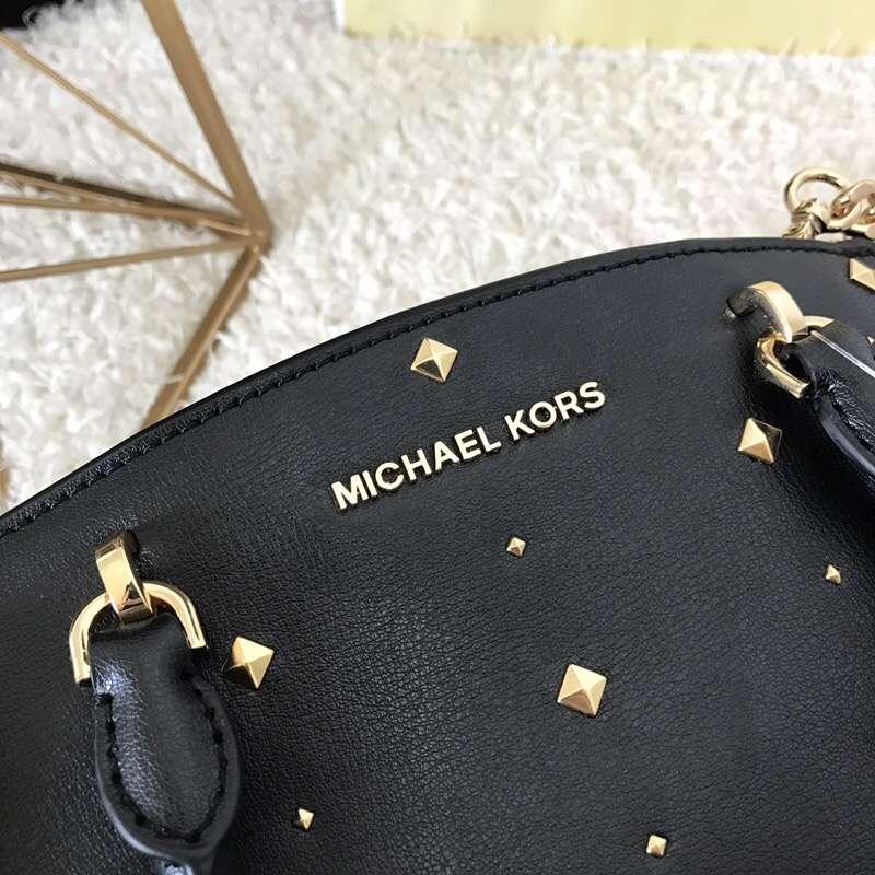 MK包包批发 迈克科尔斯黑色进口手掌纹牛皮铆钉包包新款手提斜挎女包23.5cm