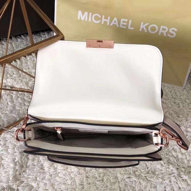 MK新款女包 迈克科尔斯杨幂同款粉配白进口顶级牛皮单肩斜挎包包23CM