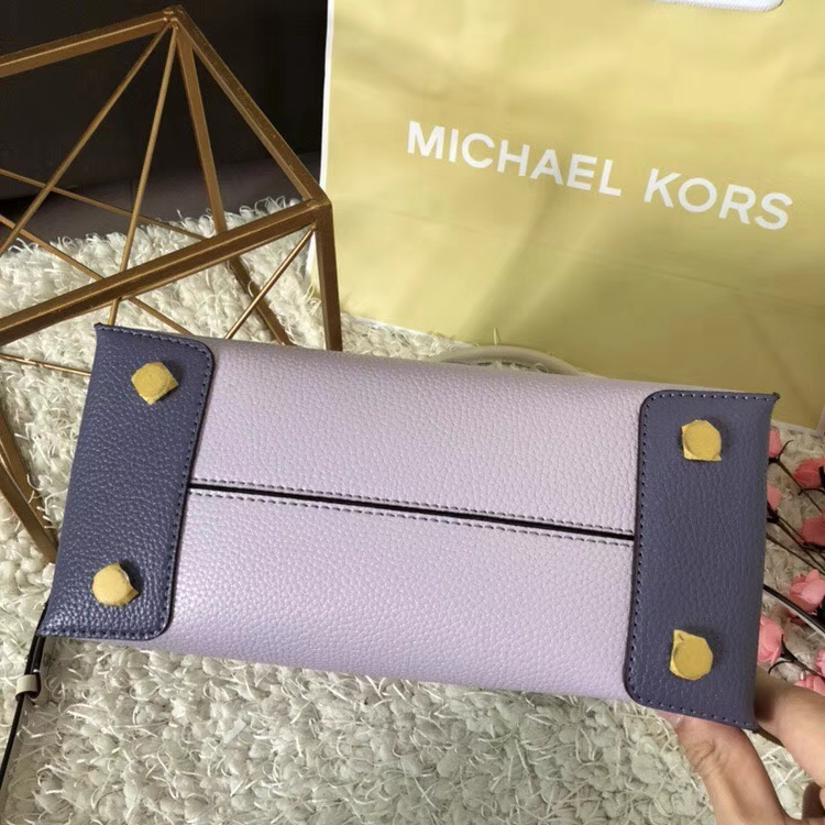 新款女包 MK最新款杨幂同款原单荔枝纹牛皮Mercer手提女包 浅紫配色
