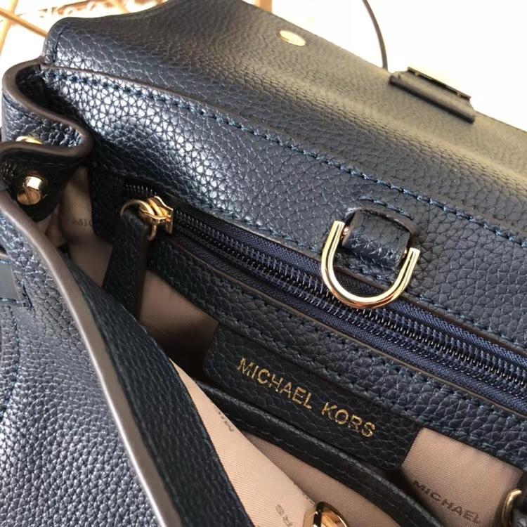 MK包包官网 迈克高仕最新花朵剑桥包手提女包25CM 黑色荔枝纹牛皮