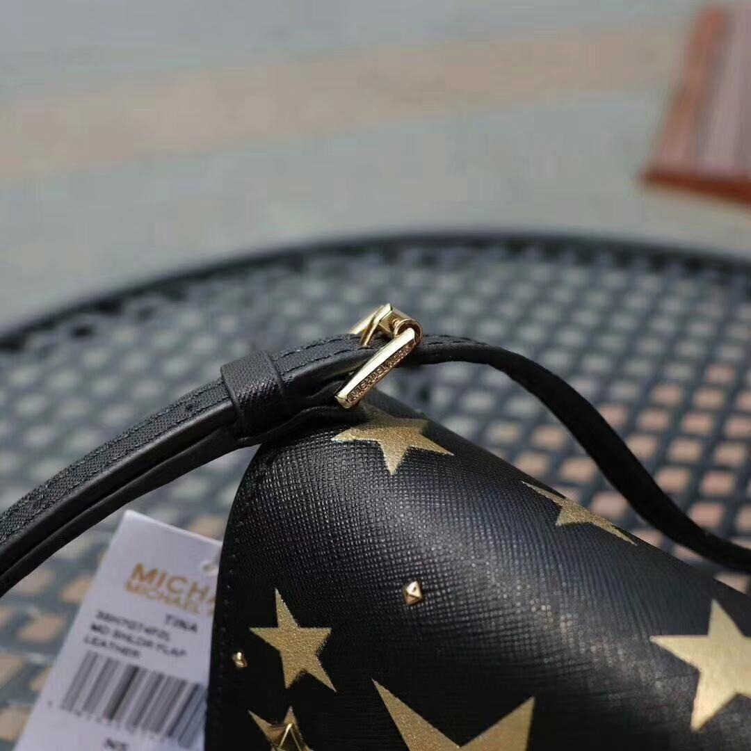 迈克科尔斯包包 MK新款十字纹牛皮星星印花铆钉链条单肩斜挎包17CM 黑色