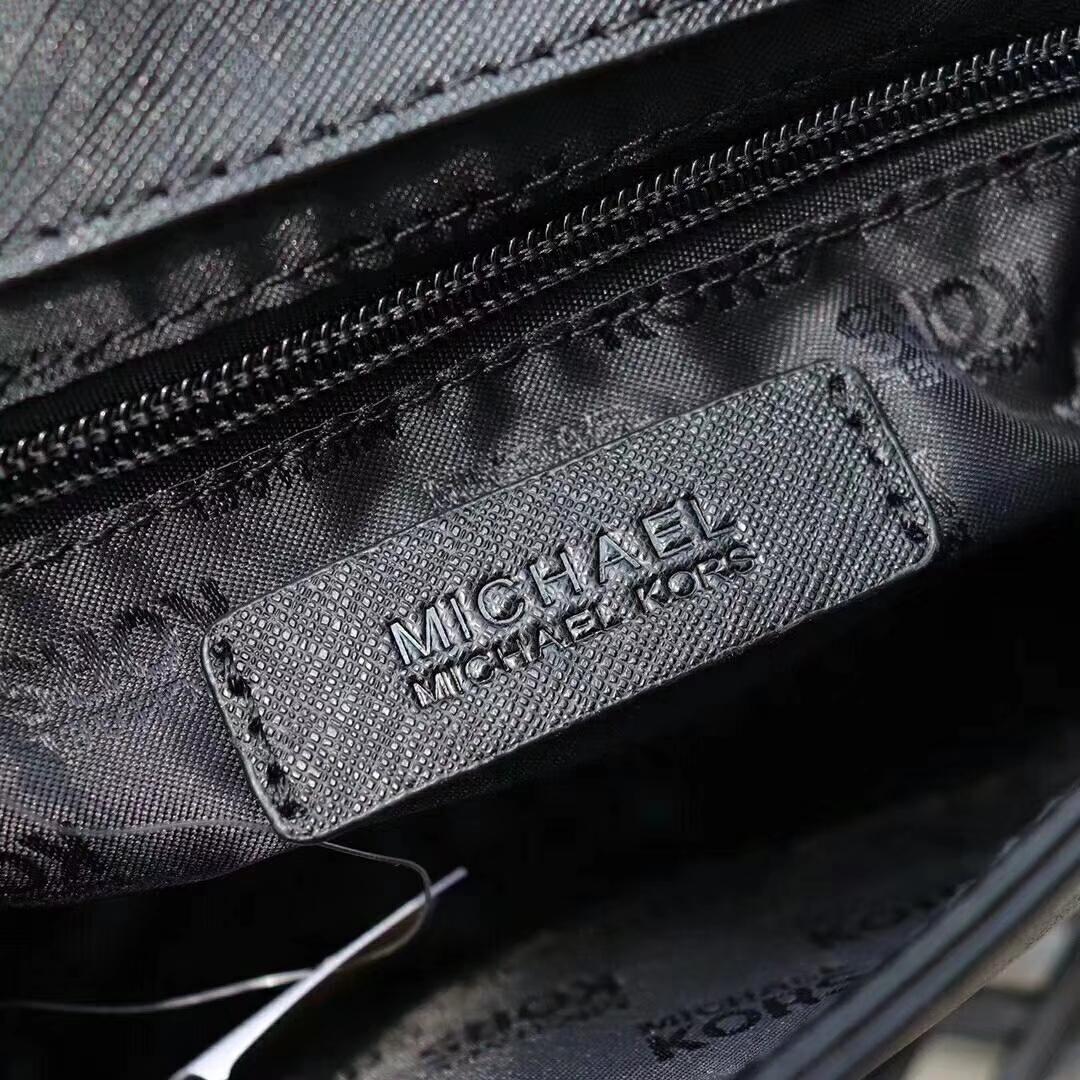 迈克科尔斯女包 MK十字纹牛皮新款铆钉链条斜挎女包23CM 黑色