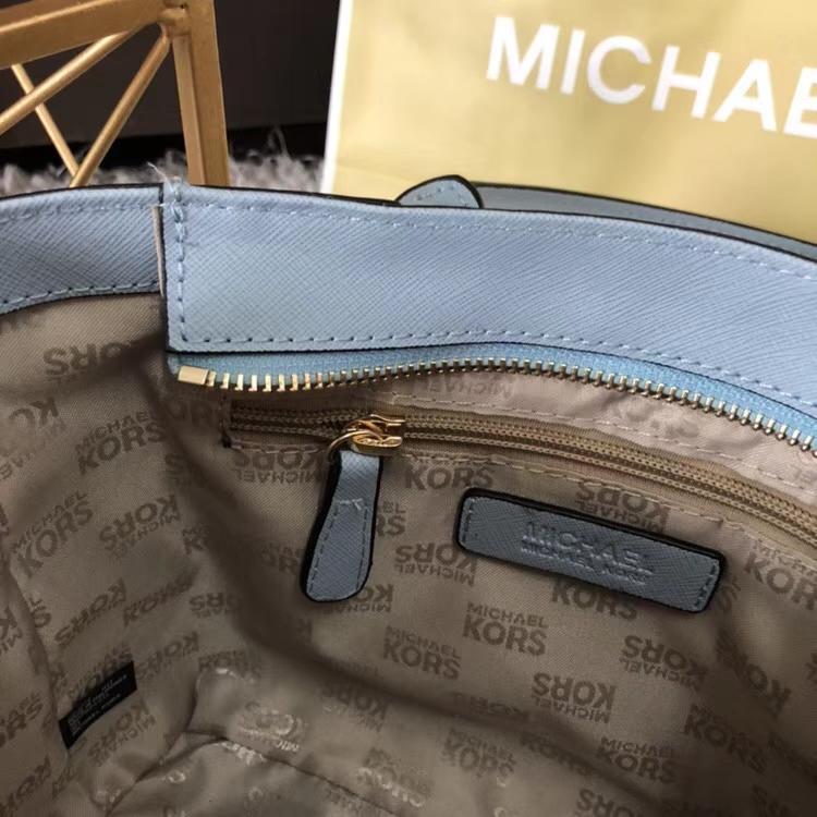 迈克科尔斯包包 MK十字纹牛皮铆钉手提单肩包耳朵包托特包 浅蓝