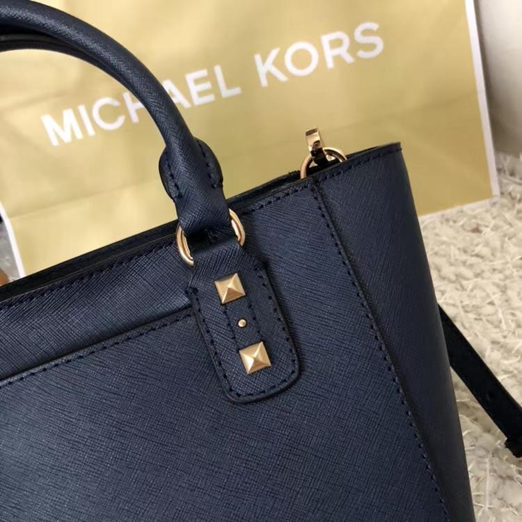 迈克高仕包包 MK新款十字纹牛皮铆钉耳朵包手提单肩包 深蓝色