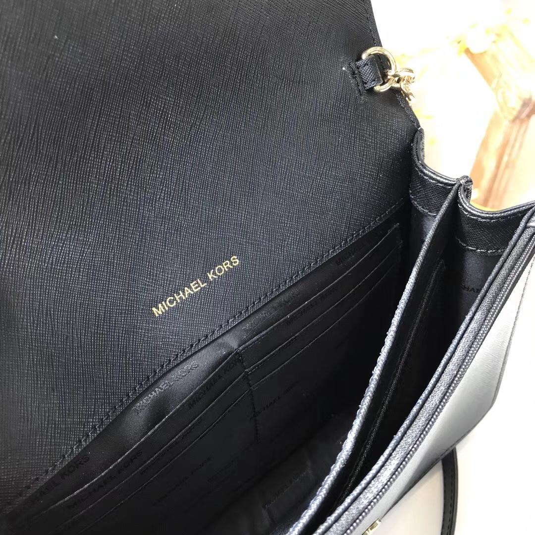 厂家直销 MK迈克科尔斯原单十字纹牛皮链条斜挎女包24CM 黑色