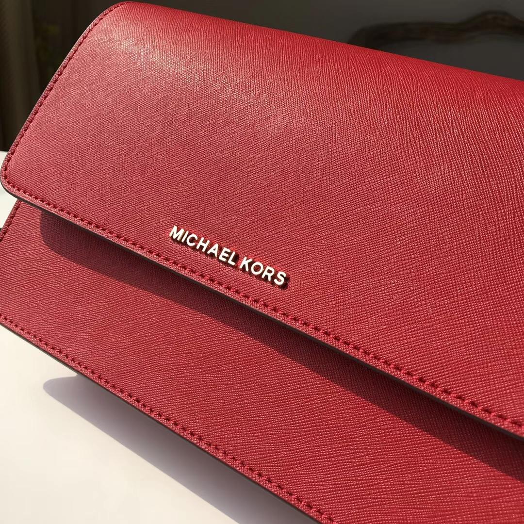 MK包包官网 迈克科尔斯MK18年新款原单十字牛皮链条斜挎女包 红色