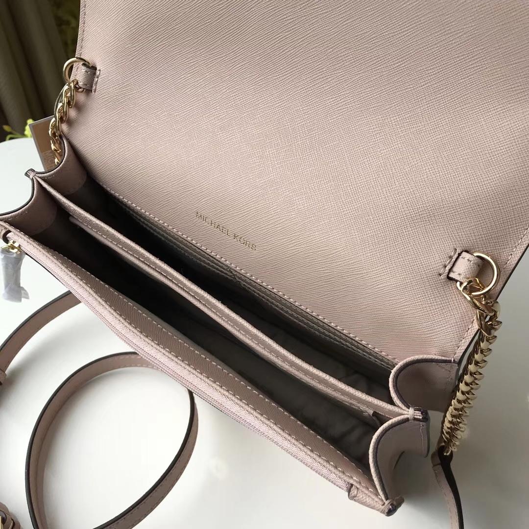 迈克高仕包包 MK粉色原单十字纹牛皮新款斜挎女包链条单肩包24cm