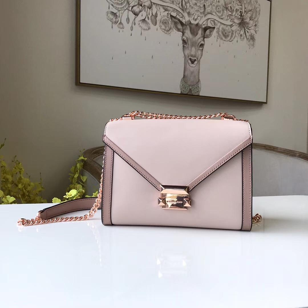 MK新款包包 MK纳帕牛皮粉色拼色Whitney手袋单肩链条包23.5cm